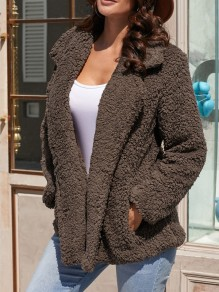 Coffee Fur Pockets Double Breasted Turndown Collar Long Sleeve Casual Coat