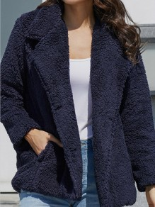 Blue Fur Pockets Double Breasted Turndown Collar Long Sleeve Casual Coat