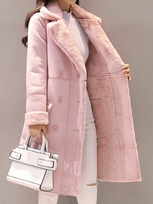 Light Pink Pockets Single Breasted Turndown Collar Long Sleeve Elegant Suede Coat