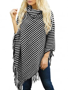 Black Striped Tassel Band Collar Batwing Sleeve Oversize Cape Outerwear