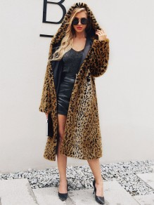 Brown Leopard Faux Fur Hooded Long Sleeve Fashion Outerwear