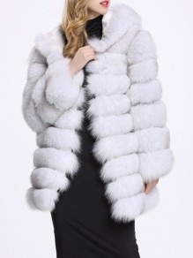 White Faux Fur Pockets Hooded Long Sleeve Fashion Coat