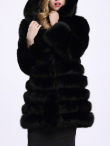Black Faux Fur Pockets Hooded Long Sleeve Fashion Coat