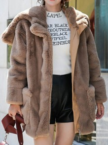 Brown Faux Fur Pockets Zipper Turndown Collar Long Sleeve Fashion Outerwear