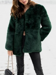 Green Faux Fur Pockets Long Sleeve Fashion Coat