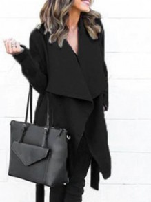 Black Pockets Belt Long Sleeve Fashion Coat