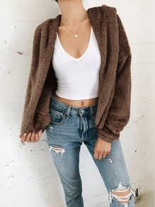Coffee Fluffy Hooded Long Sleeve Fashion Oversize Coat