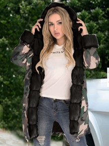 Black Camouflage Pockets Hooded Fur Collar Long Sleeve Parka Coat