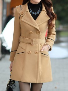 Camel Sashes Pockets Buttons Double Breasted Turndown Collar Long Sleeve Elegant Coat