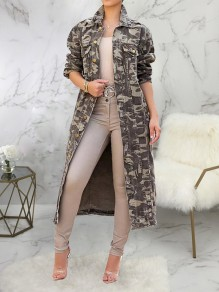 Grey Camouflage Pockets Buttons Turndown Collar Fashion Outerwear