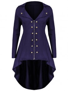 Purple Zipper Irregular Swallowtail Double Breasted Turndown Collar Long Sleeve Elegant Coat