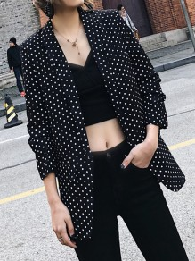 Black Polka Dot Pockets Tailored Collar Three Quarter Length Sleeve Fashion Coat