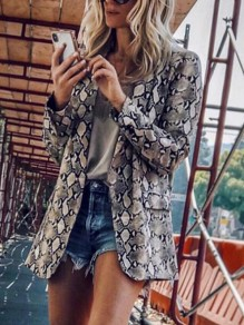Light Grey Snakeskin Pattern Pockets Tailored Collar Long Sleeve Fashion Coat