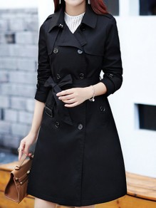 Black Sashes Pockets Buttons Double Breasted Turndown Collar Long Sleeve Elegant Coat