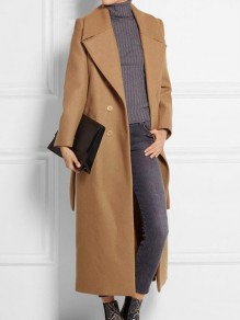 Camel Sashes Pockets Double Breasted Turndown Collar Long Sleeve Elegant Coat
