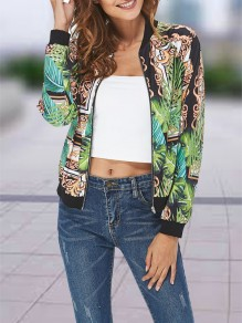 Green Floral Print Zipper Collarless Fashion Outerwear