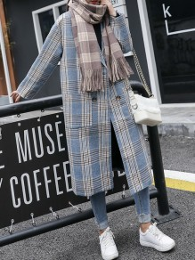 Blue Plaid Pockets Double Breasted Turndown Collar Fashion Outerwear