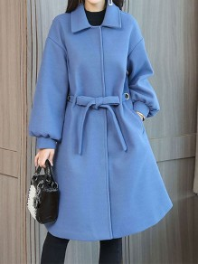 Blue Patchwork Drawstring Pockets Buttons Turndown Collar Fashion Outerwear