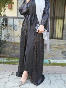 Black Sequin Sashes Long Sleeve Sparkly Floor Length Muslim Banquet Party Cardigan Coat