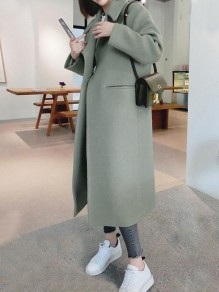 Light Green Pockets Buttons Single Breasted Turndown Collar Long Sleeve Elegant Coat