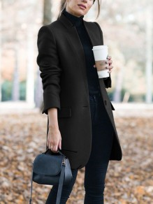 Black Pockets Buttons Tailored Collar Long Sleeve Elegant Coat