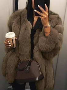 Coffee Faux Fur Plus Size Long Sleeve Bubble Fur Outerwear Teddy Coat