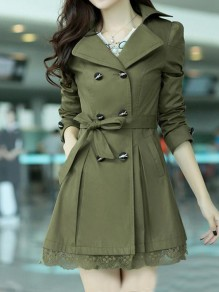 Army Green Patchwork Lace Pockets Buttons Sashes Bow Double Breasted Turndown Collar Long Sleeve Elegant Coat
