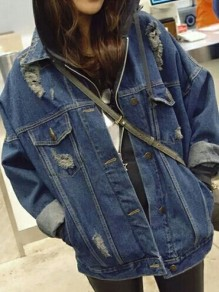 Dark Blue Cut Out Buttons Pockets Long Sleeve Jeans Coat