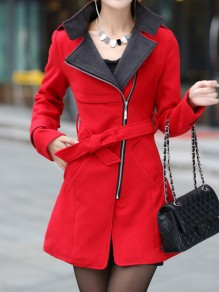 Red Pockets Sashes Zipper Band Collar Long Sleeve Elegant Coat