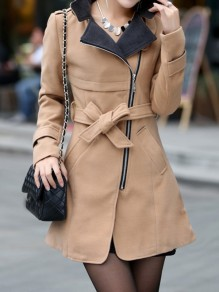 Khaki Pockets Sashes Zipper Band Collar Long Sleeve Elegant Coat