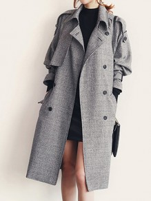 Grey Sashes Pockets Buttons Double Breasted Turndown Collar Long Sleeve Elegant Coat