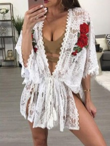 White Floral Embroidery Lace Sashes 3/4 Sleeve Cover-up Bikini Beach Cardigan Smock