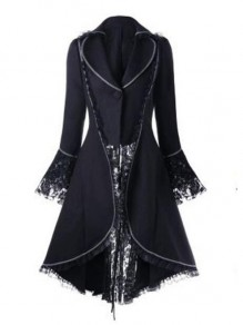 Black Patchwork Lace Irregular Lace-up High-low Turndown Collar Gypsy Party Cardigan Coat
