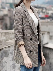 Khaki Plaid Pockets Double Breasted Tailored Collar Long Sleeve Fashion Coat