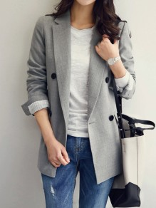 Grey Striped Pockets Double Breasted Tailored Collar Long Sleeve Elegant Coat