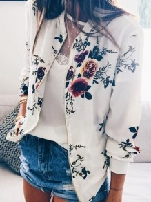 White Floral Print Zipper V-neck Long Sleeve Going out Jacket