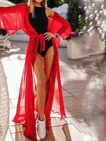 Red Drawstring Bohemian Beach Chiffon Cardigan Cover Up Kimono