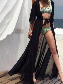 Black Drawstring Bohemian Beach Chiffon Cardigan Cover Up Kimono