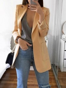 Apricot Pockets Tailored Collar Long Sleeve Fashion Suit