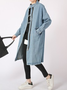 Blue Patchwork Zipper Pockets Hooded Fashion Long Outerwear