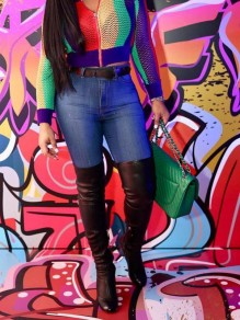 Red Zipper Colorful Stripe Long Sleeve Jamaica Fishnet Outerwear
