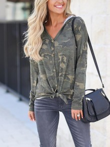 Green Camouflage Cross Single Breasted Hooded Long Sleeve Fashion Coat