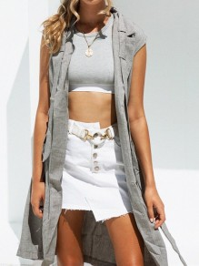 Grey Sashes Pockets Tailored Collar Sleeveless Fashion Suit