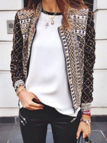 Black Floral Print Band Collar Long Sleeve Fashion Jacket