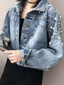Blue Patchwork Pearl Pockets Single Breasted Slit Oversize Denim Jeans Coat