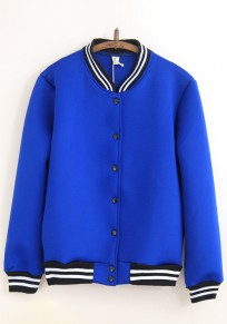 Sapphire Blue Plain Long Sleeve Trench Coat