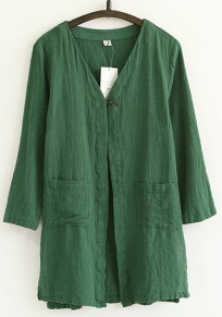 Dark Green Plain Pockets Trench Coats