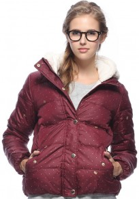 Maroon Polka Dot Pockets Hooded Padded Coat