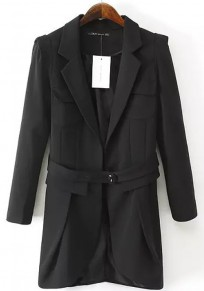 Black Plain Belt Notch Lapel Blazer