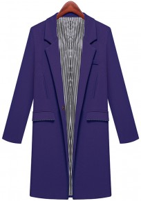 Blue Plain Pockets Notch Lapel Blazer